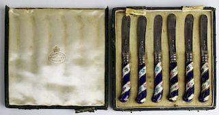 1901 set of 6 James Dixon & Sons Sheffield silver fruit knives with porcelain handles, lion passant