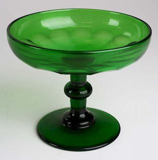 early 19th c emerald green blown glass tazza with applied stem, cut sides, ground pontil base, ht 4