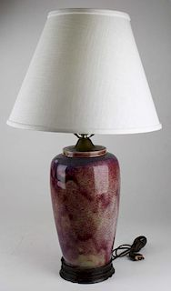 """contemporary Chinese flambe table lamp, ht 14"""", overall ht 28"""""""