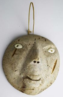 "Inuit ossified whale vertebra mask with walrus ivory eyes, ht 6.5"""