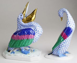 """two large Herend porcelain blue fishnet dec animal figures, """"Pelican with Fish"""" and """"The Goose That"""