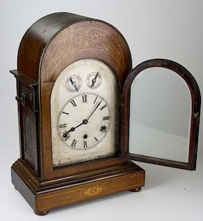 """mid 20th c parquetry inlaid brass works chime & strike shelf clock, ht 18""""mid 20th c parquetry inlai"""