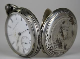 American Watch Co. open face coin silver key wind pocket watch. Roman numeral dial with Arabic secon