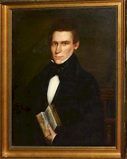 """19th c New England portrait of a gentleman with book 30 x 24"""" o/c relined"""