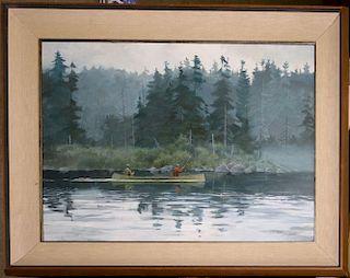"Richard Schelecht (American 1936-)  On Long Pond Maine - o/b 19 x 26"" signed lower left"
