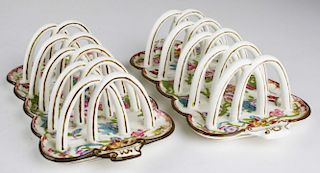 """pr of Minton toast racks, one with hairline crack, length 8.5"""""""
