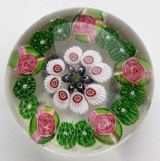 """Clichy five rose art glass paperweight with 6 point star center 1.75"""" dia- some surface nicks"""