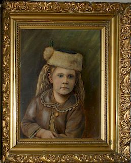 circa 1880 o/b portrait of a young girl in a fur hat with a locket