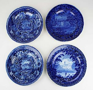 four deep blue Staffordshire porcelain plates with transfer dec views of English manorial homes by C