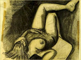 Charcoal on Paper, Nude. Signed Lucian Freud lower right.