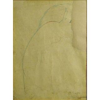 Amedeo Modigliani, Italian (1884-1920) Color Pencil, Portrait of Female Nude.