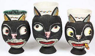 3 Michael Corney Cat Vases