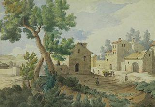 DAVID, Joseph Antoine. Watercolor. French Village.