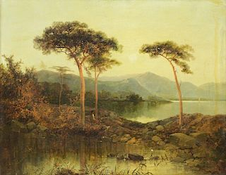 "SMITH, James Burrell. Oil on Canvas. ""View of Loch"