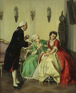 THESEIL, C.J. Oil on Canvas. Courting Scene.