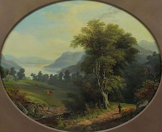 "BOESE, Henry. Oil on Canvas. ""View of the Hudson"