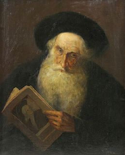 Signed 19th C. Oil on Canvas. Portrait of a Rabbi.