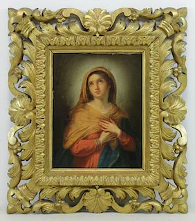 "19th C. Oil on Canvas ""Penitent Magdalene"" in a"