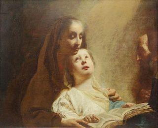 """ANGELI, Giuseppe. Oil on Canvas. """"The Education of"""