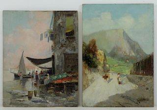 RICCIARDI, Oscar. Two Oil on Panel Italian Scenes.
