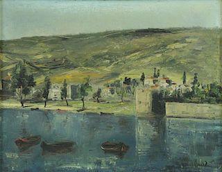 Signed Israeli Oil on Canvas Modernist Landscape.