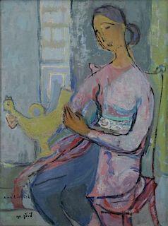 WEINGRUN-LIEBLICH, Anna. Oil on Canvas. Woman with