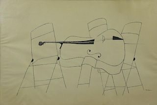 "SHAHN, Ben. Ink on Paper. ""Chairs and Bass Violin"""