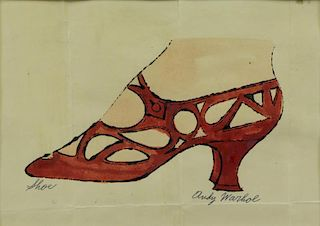 "WARHOL, Andy. Offset Handcolored Lithograph ""Shoe"""