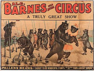 Al. G. Barnes. Pallen's Bears Taught to Do Wonderful Stunts.