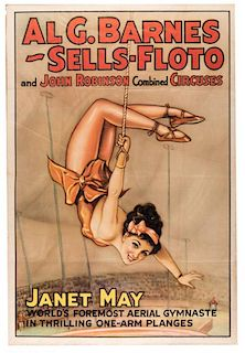 Al. G. Barnes, Sells-Floto, and John Robinson Combined Circus. Janet May, World's Foremost Aerial Gymnaste.
