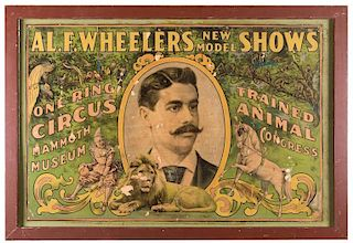 Al. F. Wheeler's New Model Shows. One Ring Circus, Mammoth Museum, and Trained Animal Circus.