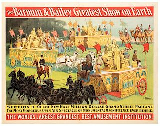 Barnum and Bailey Greatest Show on Earth. Parade Section 3. The New Million Dollar Grand Street Pageant.