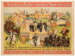 Barnum and Bailey Greatest Show on Earth. Parade Section 5. A Few of the Many Richly Carved Huge Golden Chariots, and Fairy Land Tableux.