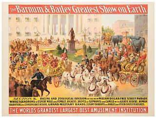 Barnum and Bailey Greatest Show on Earth. Parade Section 8. Racing and Zoological Division of the New Million Dollar Free Street Parade.
