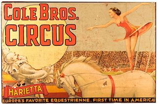 Cole Brothers Circus. Harietta: Europe's Favorite Equestrienne, First Time in America.