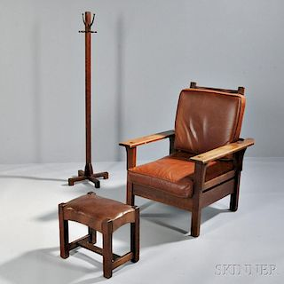 Arts and Crafts Morris Chair, Ottoman, and Coat Rack