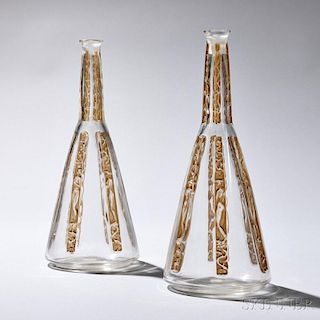 """Pair of R. Lalique """"Six Figures"""" Pattern Decanters"""