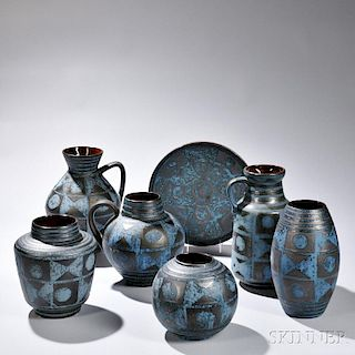 Seven Pieces of Carsten Tonnieshof Art Pottery