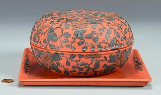 Diao Tian Lacquer Covered Box with Under Tray