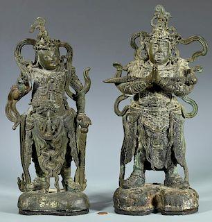 Pair Chinese Bronze Warrior Gods