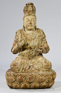 """Large Carved Quan Yin Figure, 41""""H"""