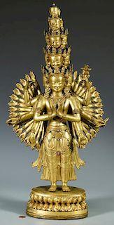 Gilt Bronze Jeweled Avalokitesvara Sculpture