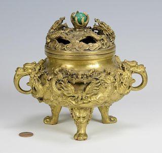 Chinese Gilt Bronze Dragon Censer