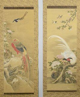 Pair Japanese Kano Scrolls from 4 Seasons