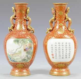 Pr. Chinese Porcelain Wall Pockets