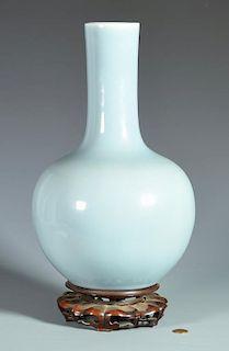 Large Pale Blue Chinese Bottle Form Vase