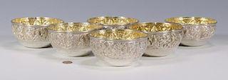 Six Asian Silver Bowls w/gilt interiors