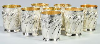 """8 Galmer Sterling """"Horses"""" Julep Cups"""