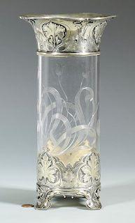 Gorham Sterling & Glass Vase