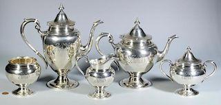 Gorham Sterling Silver Tea Service, 5 pcs
